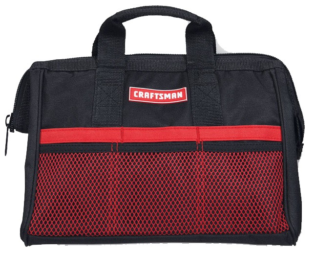 Craftsman 13 in. W x 9.75 in. H Wide Mouth Tool Bag 6 pocket Black/Red