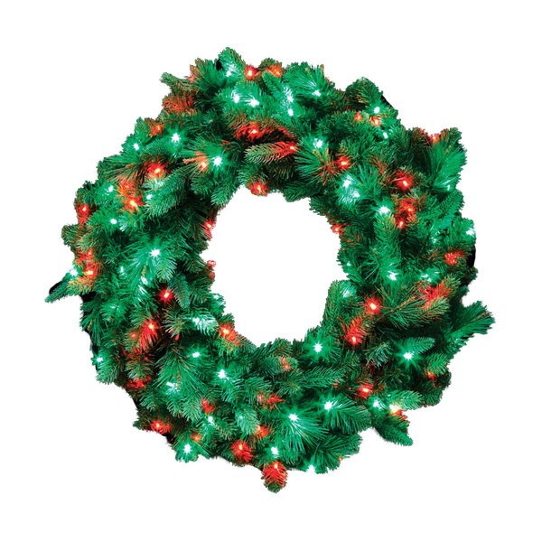 "36"" Prelit Red and Green Wreath"